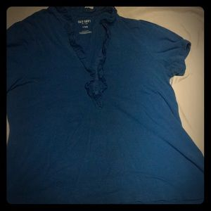 Blue Top with ruffles around neckline